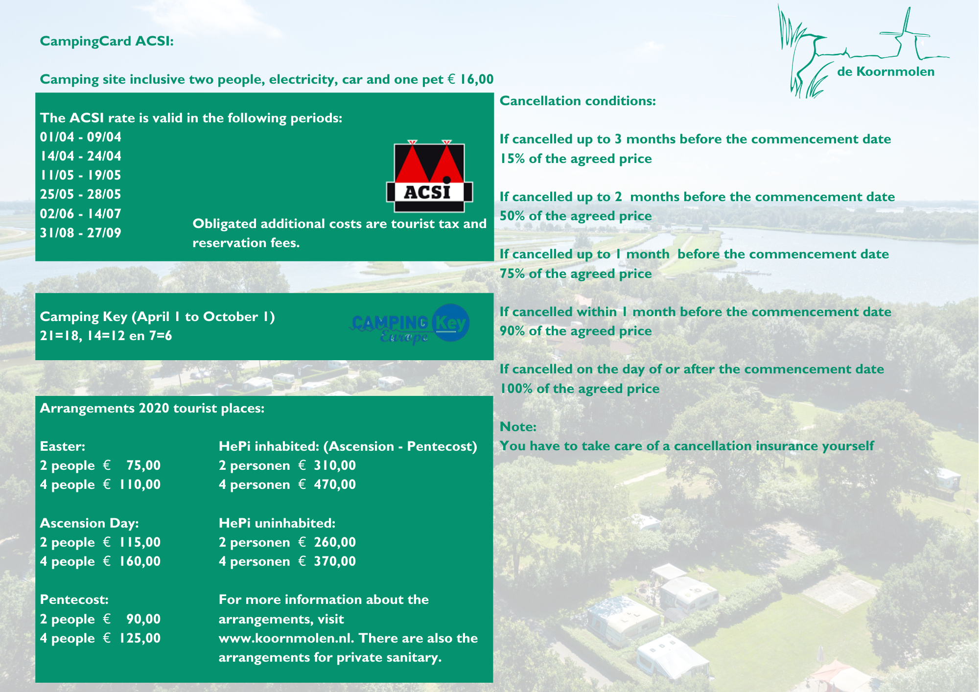Prices tourist plot camping de Koornmolen 2020