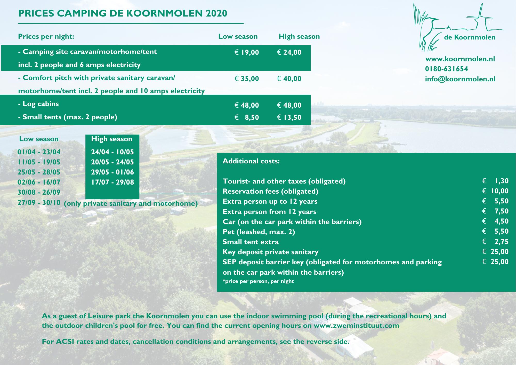 Tourist plots camping de Koornmolen 2020